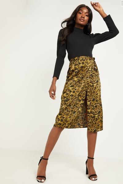 Khaki Satin Animal Wrap Midi Skirt